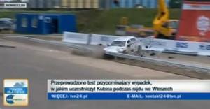 【動画】ロバート・クビサのクラッシュを実車で再現...貫通するガードレール